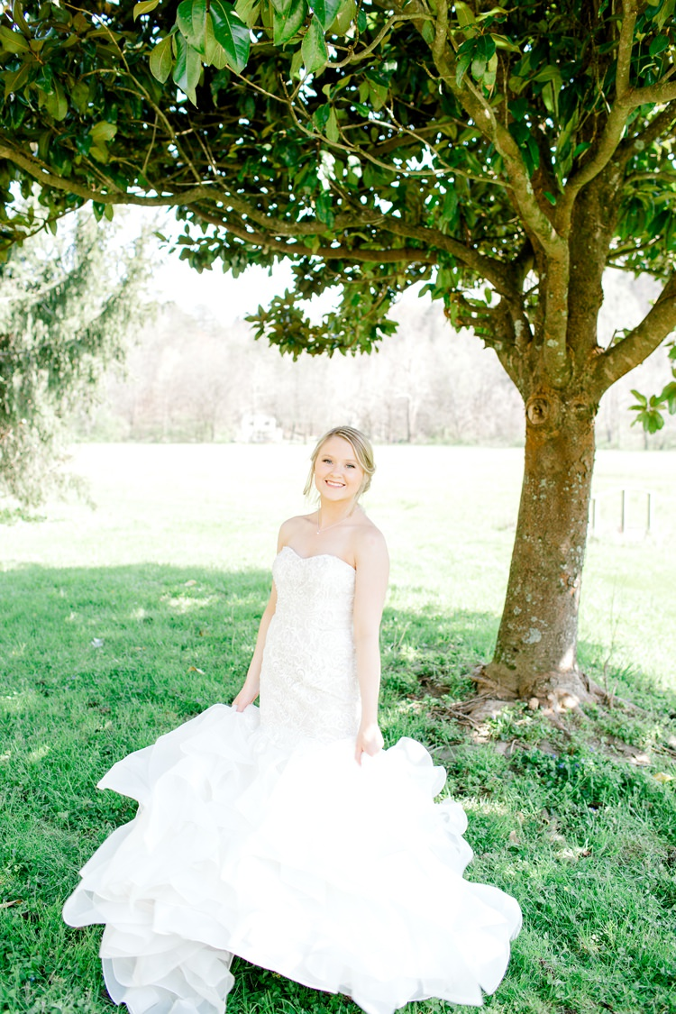 Fit Flare Fishtail Dress Gown Bride Bridal Lace Sweetheart Romantic Spring Pastel Farm Wedding Ashley Spangler Photography