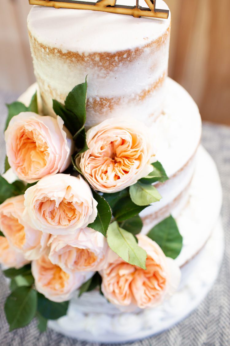Semi Naked Cake Sponge Icing Roses Peach Blush Pink Romantic Spring Pastel Farm Wedding Ashley Spangler Photography