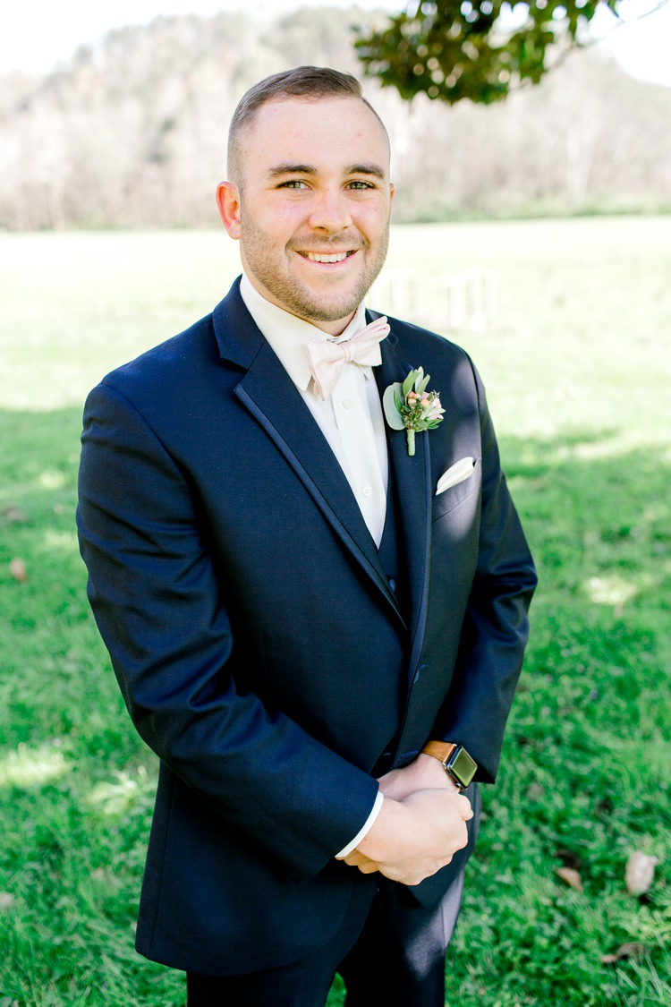 Groom Style Suit Attire Bow Tie Pink Romantic Spring Pastel Farm Wedding Ashley Spangler Photography