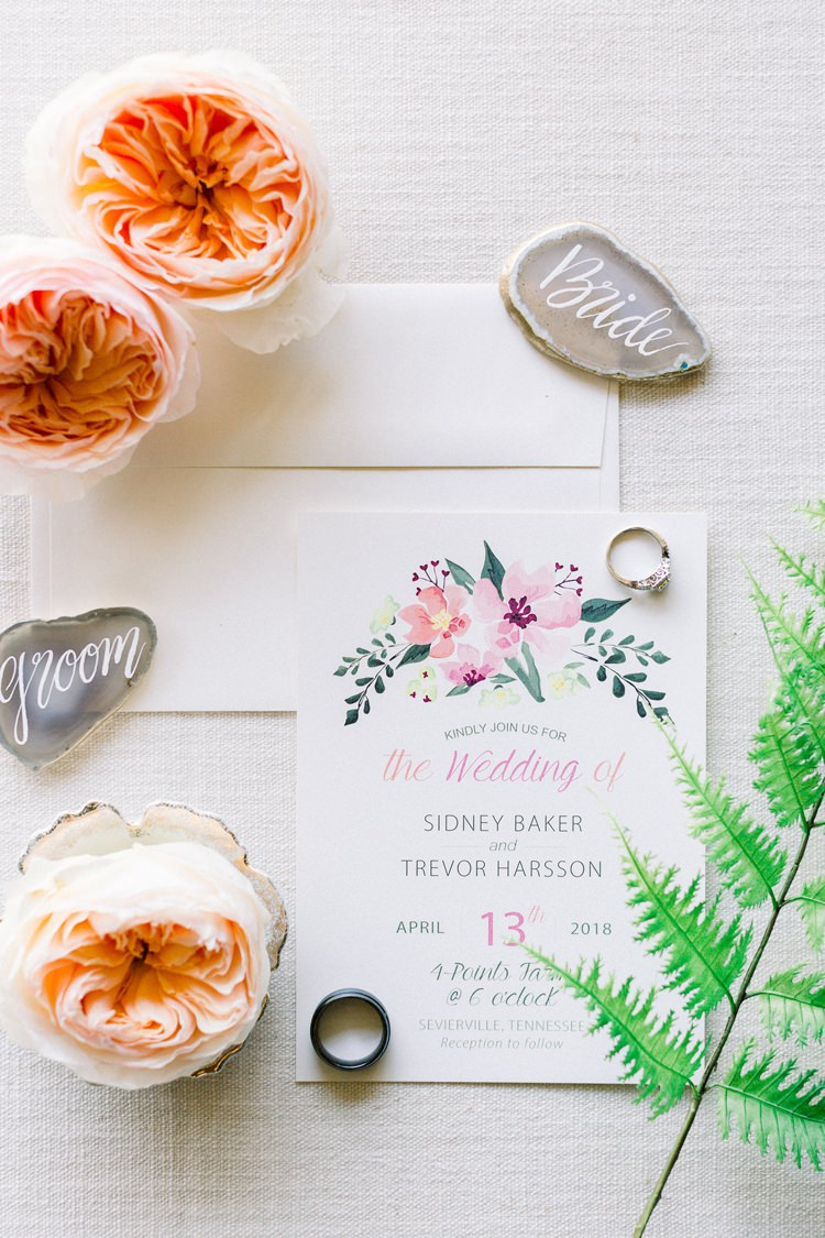 Floral Stationery Invitations Invites Agate Place Names Romantic Spring Pastel Farm Wedding Ashley Spangler Photography