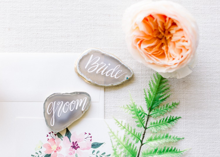 Agate Place Names Calligraphy Romantic Spring Pastel Farm Wedding Ashley Spangler Photography