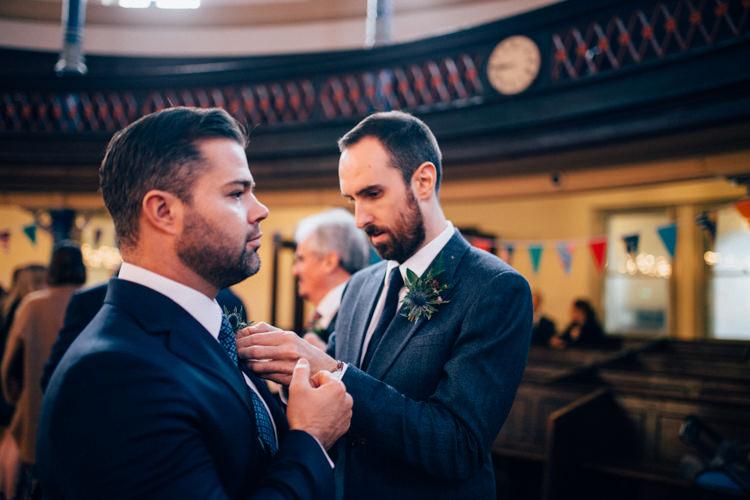 Groom Reiss Blue Tweed Buttonhole Round Chapel London Wedding Nikki van der Molen Photography