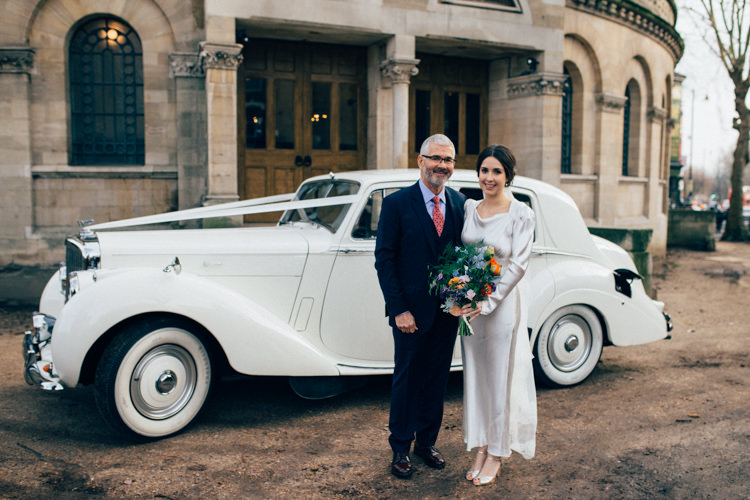 Bride Bridal Dress Gown Vintage Silk 1940s Reiss Father Car Transport Round Chapel London Wedding Nikki van der Molen Photography