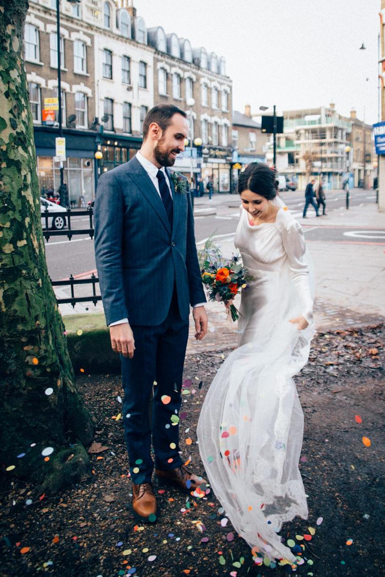 Bride Bridal Dress Gown Vintage Silk 1940s Reiss Groom Blue Multicoloured Bouquet Colourful Round Chapel London Wedding Nikki van der Molen Photography