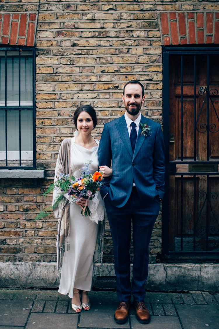 Bride Bridal Dress Gown Vintage Silk 1940s Reiss Groom Blue Velvet Grey Shawl Multicoloured Bouquet Colourful Round Chapel London Wedding Nikki van der Molen Photography