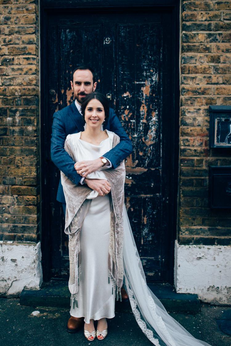 Bride Bridal Dress Gown Vintage Silk 1940s Reiss Groom Blue Grey Velvet Shawl Round Chapel London Wedding Nikki van der Molen Photography