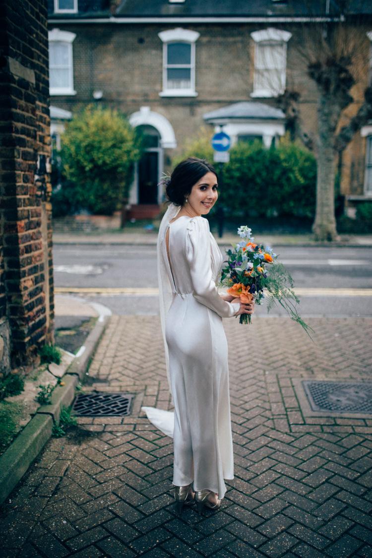 Bride Bridal Dress Gown Vintage Silk 1940s Reiss Colourful Multicoloured Bouquet Veil Round Chapel London Wedding Nikki van der Molen Photography