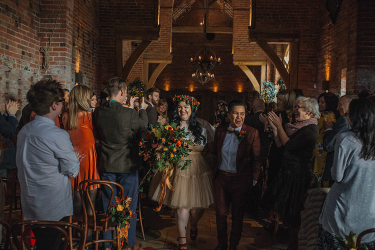 Bride Bridal Separates Lace Shawl Tulle Skirt Burgundy Suit Bow Tie Autumn Flower Crown Red Orange Shustoke Farm Barns Wedding Ellie Grace Photography