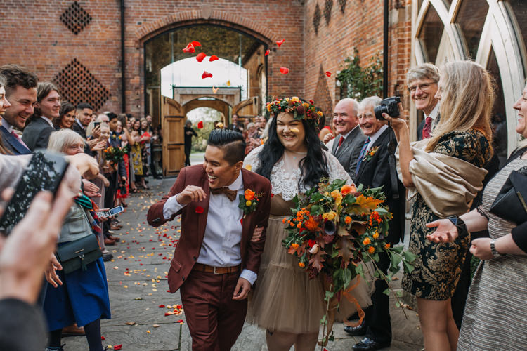 Bride Bridal Separates Lace Shawl Tulle Skirt Burgundy Suit Bow Tie Autumn Flower Crown Red Orange Confetti Shustoke Farm Barns Wedding Ellie Grace Photography
