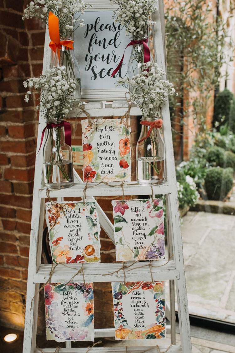 Table Plan Seating Chart Step Ladder Watercolour Flowers Floral Gypsophila Bottles Shustoke Farm Barns Wedding Ellie Grace Photography