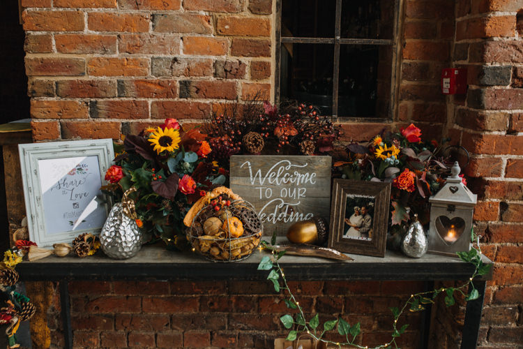 Welcome Sign Table Wooden Photographs Colourful Multicolour Flower Floral Autumn Shustoke Farm Barns Wedding Ellie Grace Photography