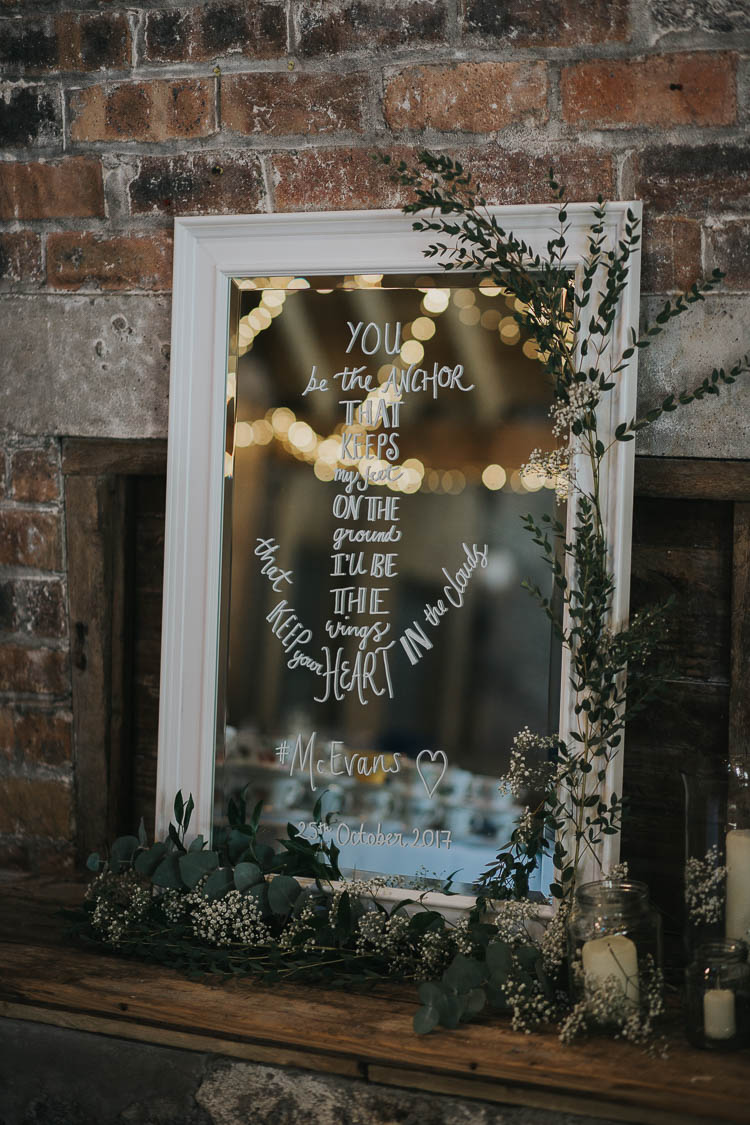 Mirror Sign Writing Motto Calligraphy Greenery The Byre at Inchyra Wedding Jen Owens Images