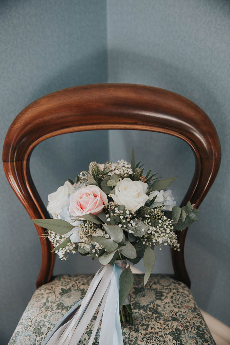 Bride Bridal Bouquet Pink Rose Gypsophila Thistle The Byre at Inchyra Wedding Jen Owens Images