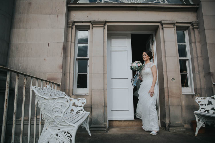Bride Bridal Dress Gown Lace Sweetheart Neckline Short Sleeve Full Skirt Bouquet Ribbon The Byre at Inchyra Wedding Jen Owens Images