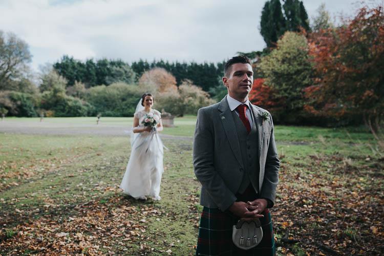 Bride Bridal Dress Gown Lace Sweetheart Neckline Short Sleeve Full Skirt Kilt Groom Tartan Waistcoat Red Green First Look Bouquet The Byre at Inchyra Wedding Jen Owens Images