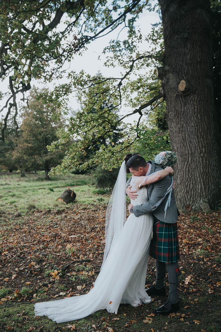 Bride Bridal Dress Gown Lace Sweetheart Neckline Short Sleeve Full Skirt Kilt Groom Tartan Waistcoat Red Green Bouquet Ribbons The Byre at Inchyra Wedding Jen Owens Images
