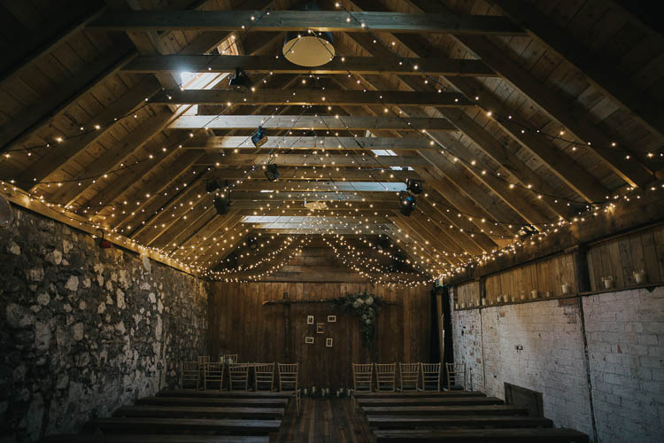 Ceremony Barn Fairy Light Rustic Wooden Arch The Byre at Inchyra Wedding Jen Owens Images