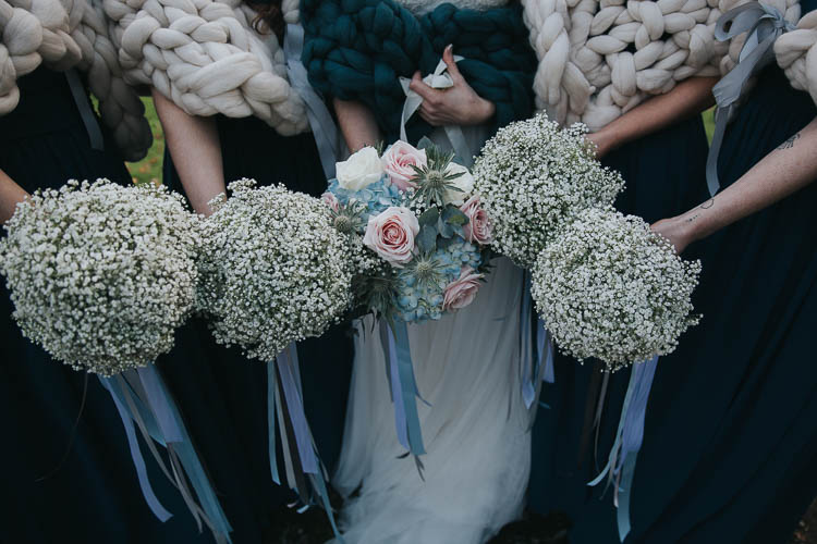 Bride Bridal Bouquet Ribbons Rose Thistle Gypsophila The Byre at Inchyra Wedding Jen Owens Images