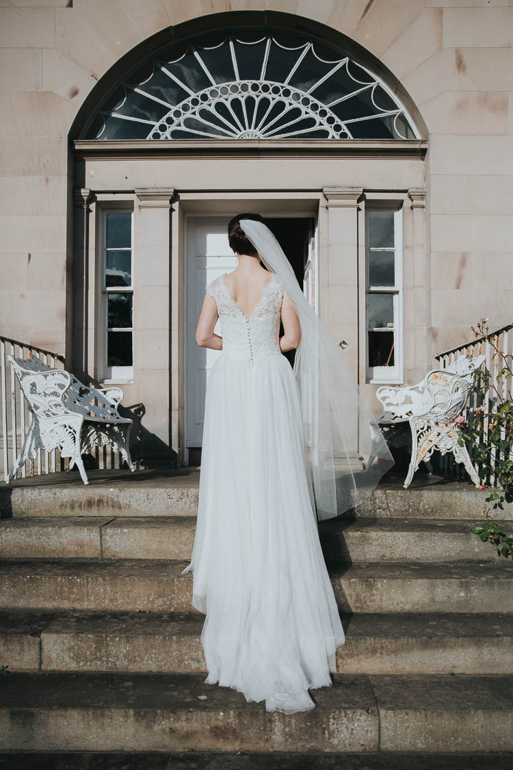 Bride Bridal Dress Gown Lace Sweetheart Neckline Short Sleeve Full Skirt Veil The Byre at Inchyra Wedding Jen Owens Images