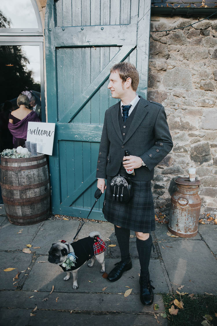 Dog Ring Bearer Pug Scottish Kilt Groom Tartan Waistcoat Red Green The Byre at Inchyra Wedding Jen Owens Images
