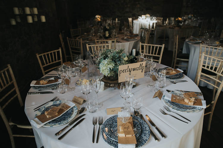 Table Setting Greenery Foliage Floral Plates Luggage Tags The Byre at Inchyra Wedding Jen Owens Images
