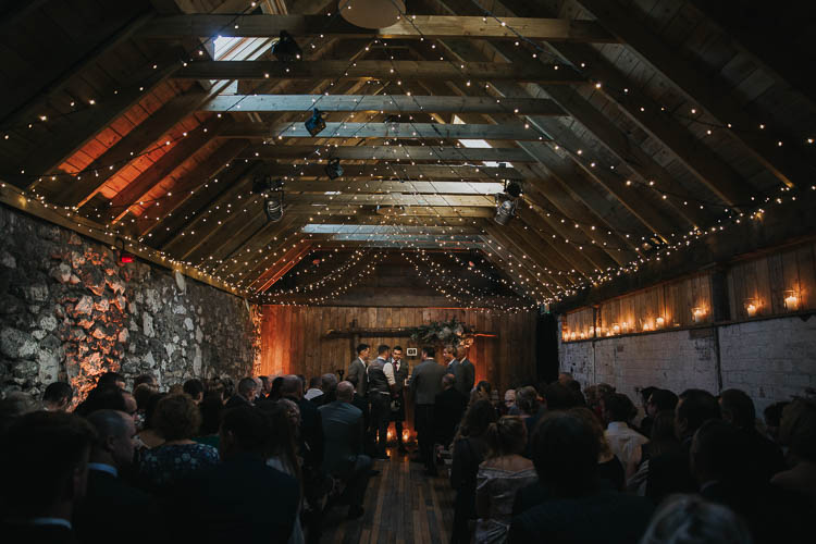 Ceremony Fairy Lights Barn Rustic Wooden The Byre at Inchyra Wedding Jen Owens Images