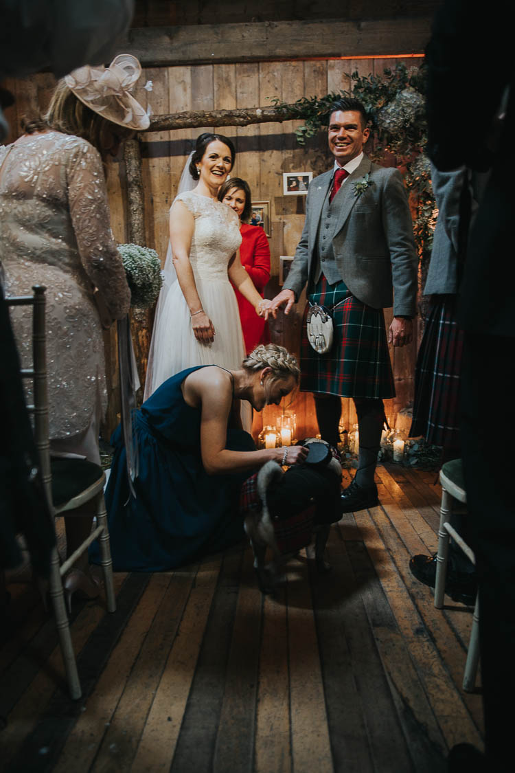 Ceremony Dog Ring Bearer Bride Bridal Dress Gown Lace Sweetheart Neckline Short Sleeve Full Skirt Kilt Groom Tartan Waistcoat Red Green The Byre at Inchyra Wedding Jen Owens Images