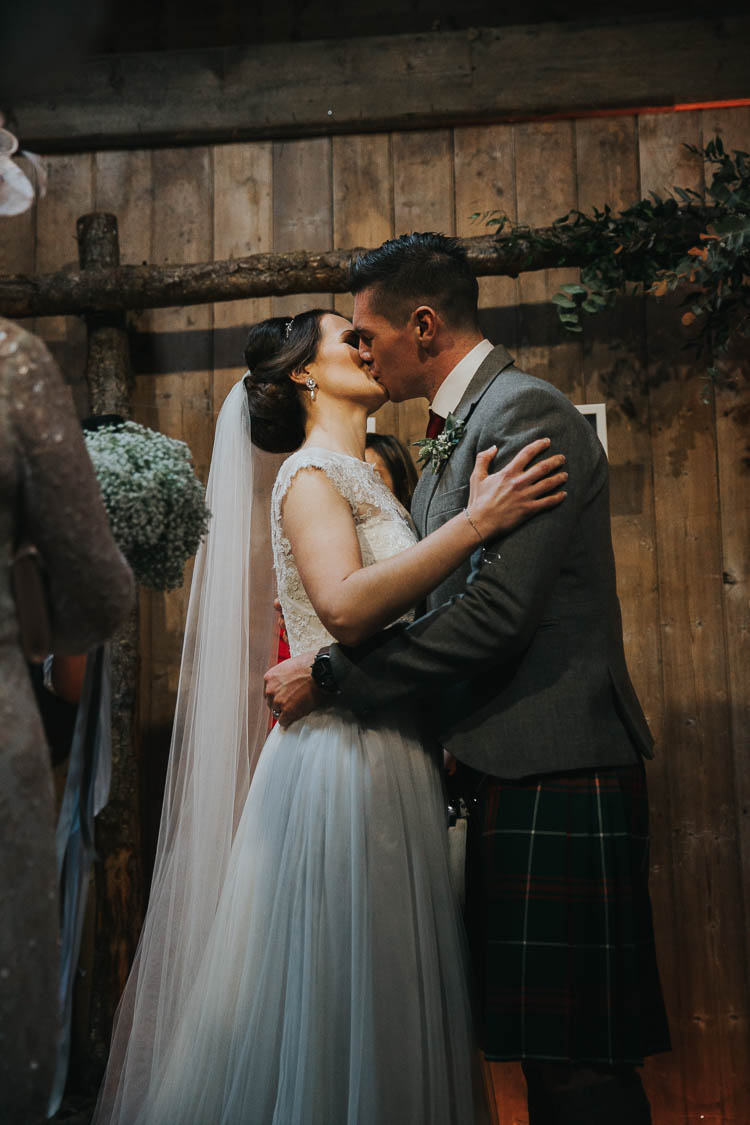 Bride Bridal Dress Gown Lace Sweetheart Neckline Short Sleeve Full Skirt Kilt Groom Tartan Waistcoat Red Green The Byre at Inchyra Wedding Jen Owens Images