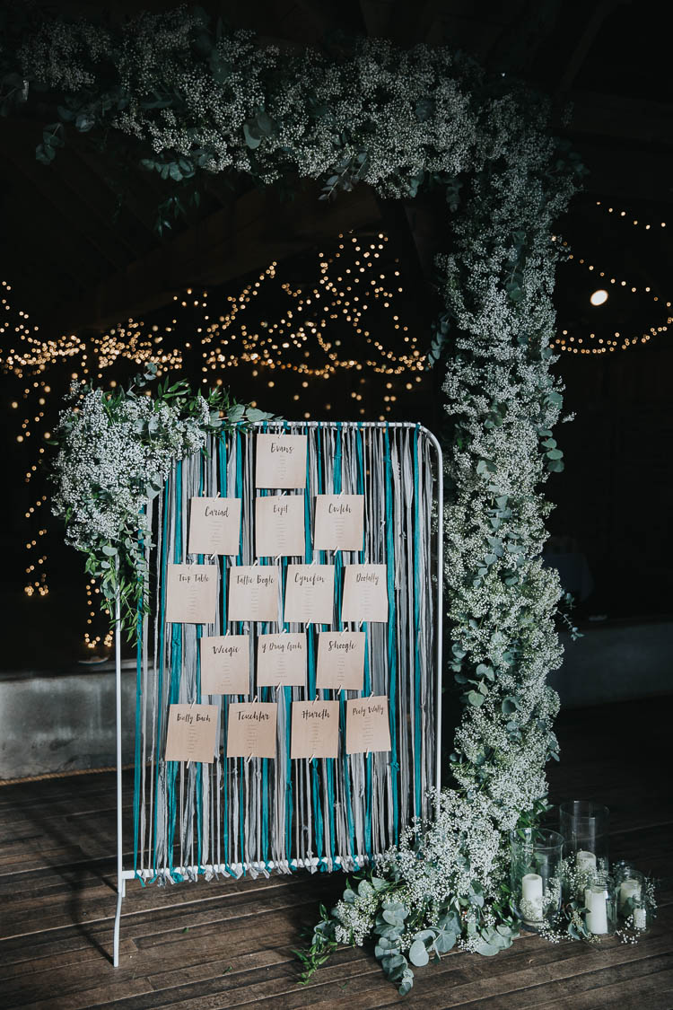 Table Plan Seating Chart Ribbon Floral Flowers Greenery The Byre at Inchyra Wedding Jen Owens Images