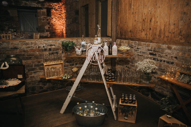 Stepladder Bar Sip Sip Hooray Ice Bucket Wooden Crates The Byre at Inchyra Wedding Jen Owens Images