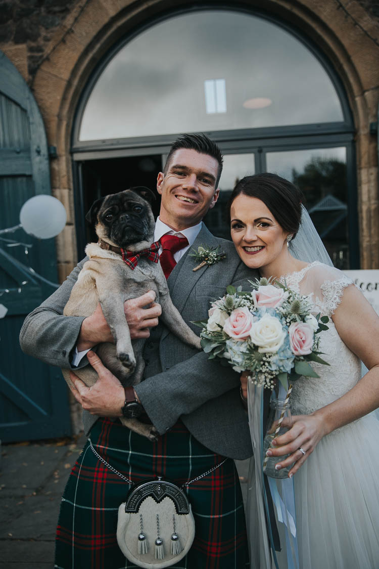 Bride Bridal Dress Gown Lace Sweetheart Neckline Short Sleeve Full Skirt Kilt Groom Tartan Waistcoat Red Green Bouquet Pink White Rose Blue Hydrangea Gypsophila Thistle Dog Tartan Bow Tie Ring Bearer The Byre at Inchyra Wedding Jen Owens Images
