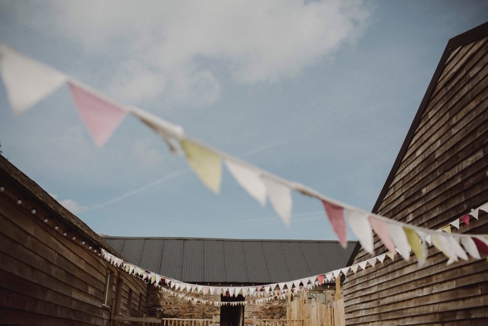 Bunting The Green Cornwall Wedding Ben Selway Photography