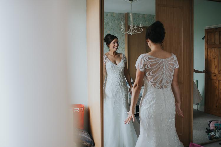 Bride Bridal Beaded Embellished Cap Short Sleeve Dress Sweetheart Neckline The Workstation Cinema Colourful Wedding Bloom Weddings