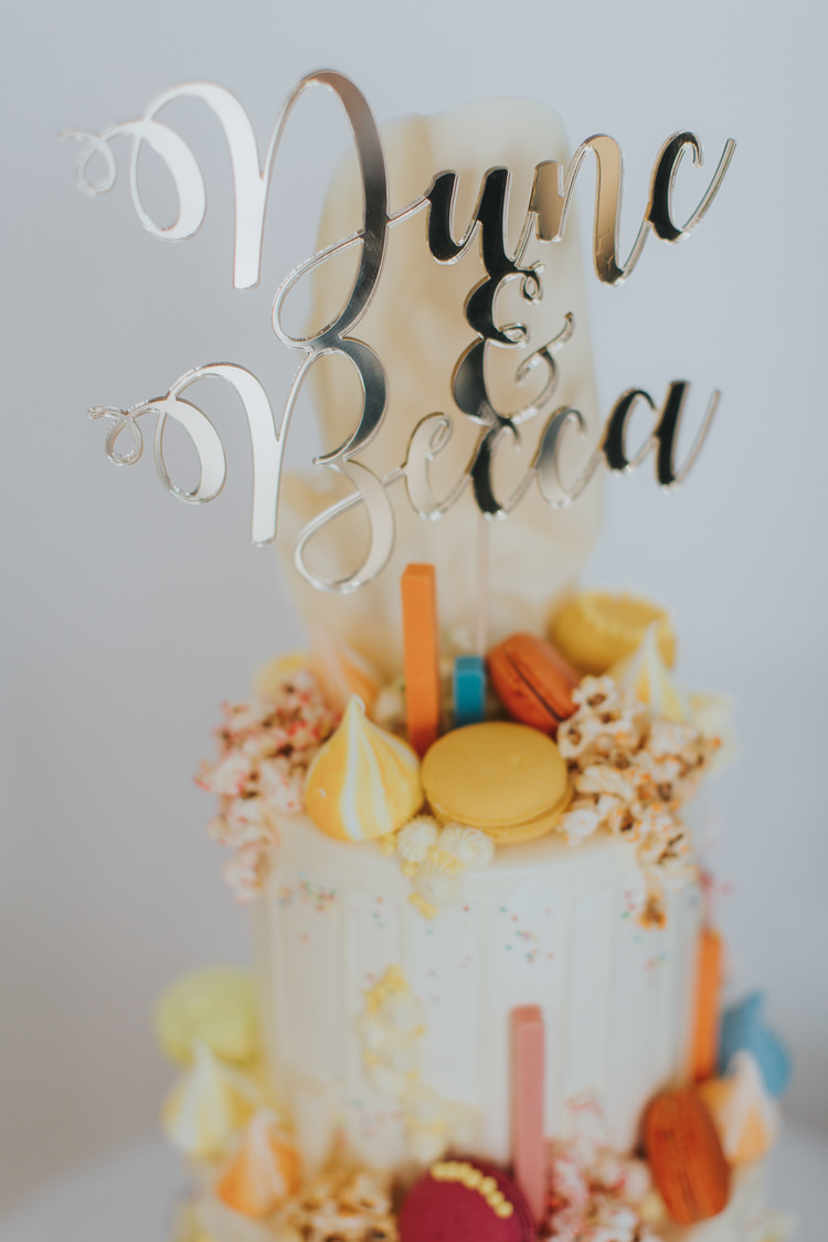 Mirror Metallic Laser Cut Calligraphy Cake Topper Macarons Meringue Kisses Drip Buttercream The Workstation Cinema Colourful Wedding Bloom Weddings