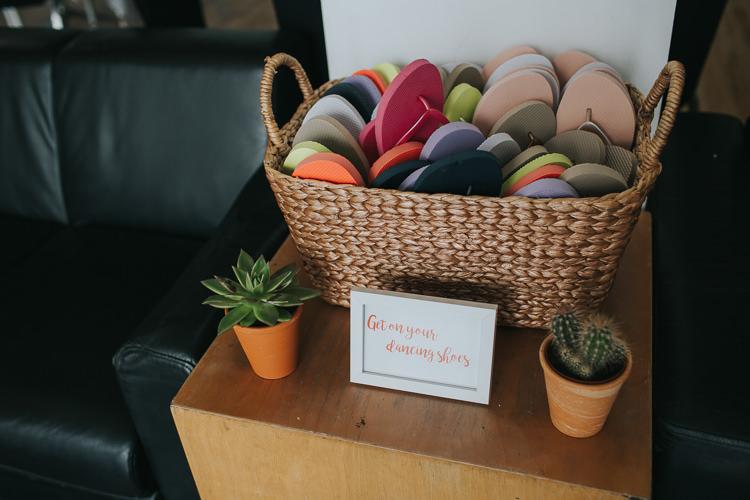 Dancing Shoes Flip Flops Basket Succulent Cactus The Workstation Cinema Colourful Wedding Bloom Weddings