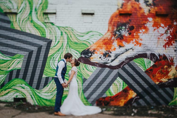 Bride Bridal Beaded Embellished Cap Short Sleeve Dress Sweetheart Neckline Blue Suit Groom Waistcoat Graffiti The Workstation Cinema Colourful Wedding Bloom Weddings