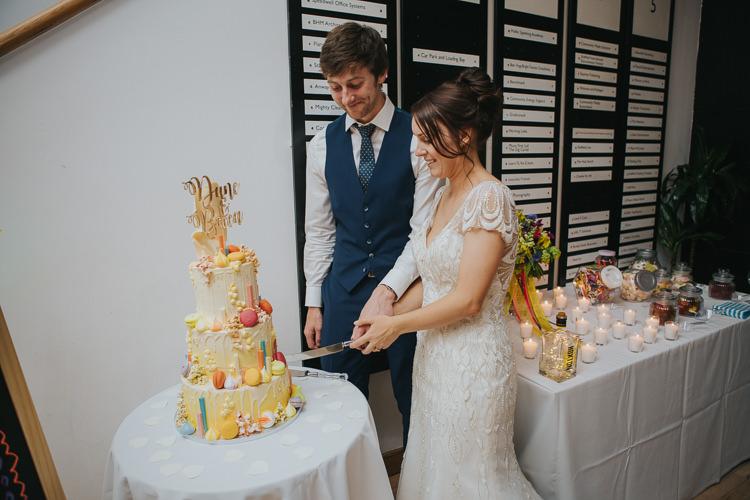 Bride Bridal Beaded Embellished Cap Short Sleeve Dress Sweetheart Neckline Blue Suit Groom Cake Cutting The Workstation Cinema Colourful Wedding Bloom Weddings