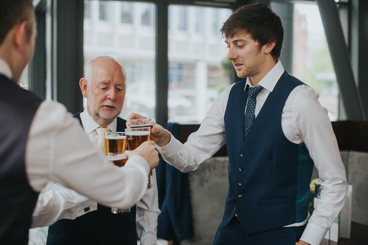 Blue Waistcoat Groom Prep The Workstation Cinema Colourful Wedding Bloom Weddings