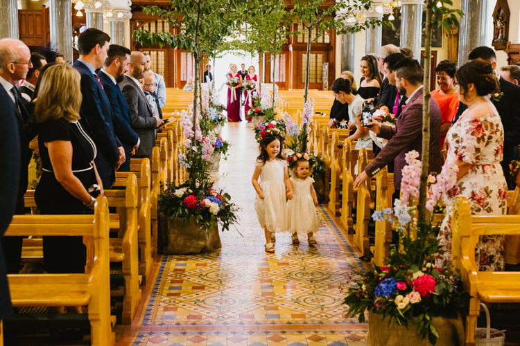 Church Trees Aisle Ceremony Decor Flowers Girls Larchfield Estate Wedding Honey and the Moon Photography