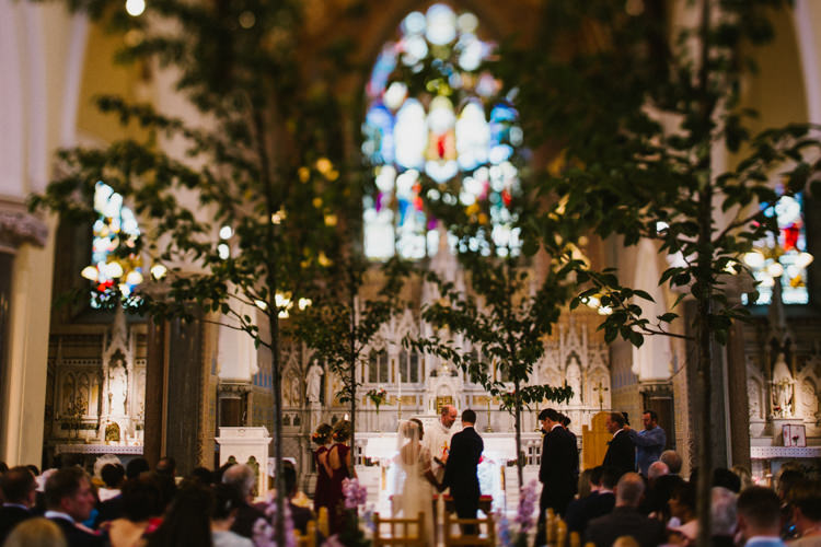 Church Trees Aisle Ceremony Decor Flowers Larchfield Estate Wedding Honey and the Moon Photography