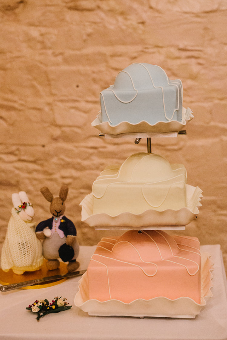 Giant Fondant Fancy Cake Larchfield Estate Wedding Honey and the Moon Photography
