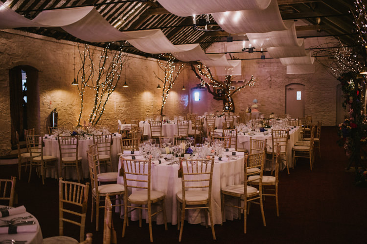 Drapes Fairy Lights Trees Decor Barn Larchfield Estate Wedding Honey and the Moon Photography