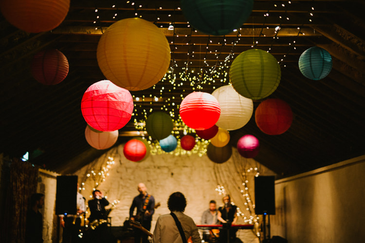 Lanterns Fairy Lights Decor Barn Larchfield Estate Wedding Honey and the Moon Photography