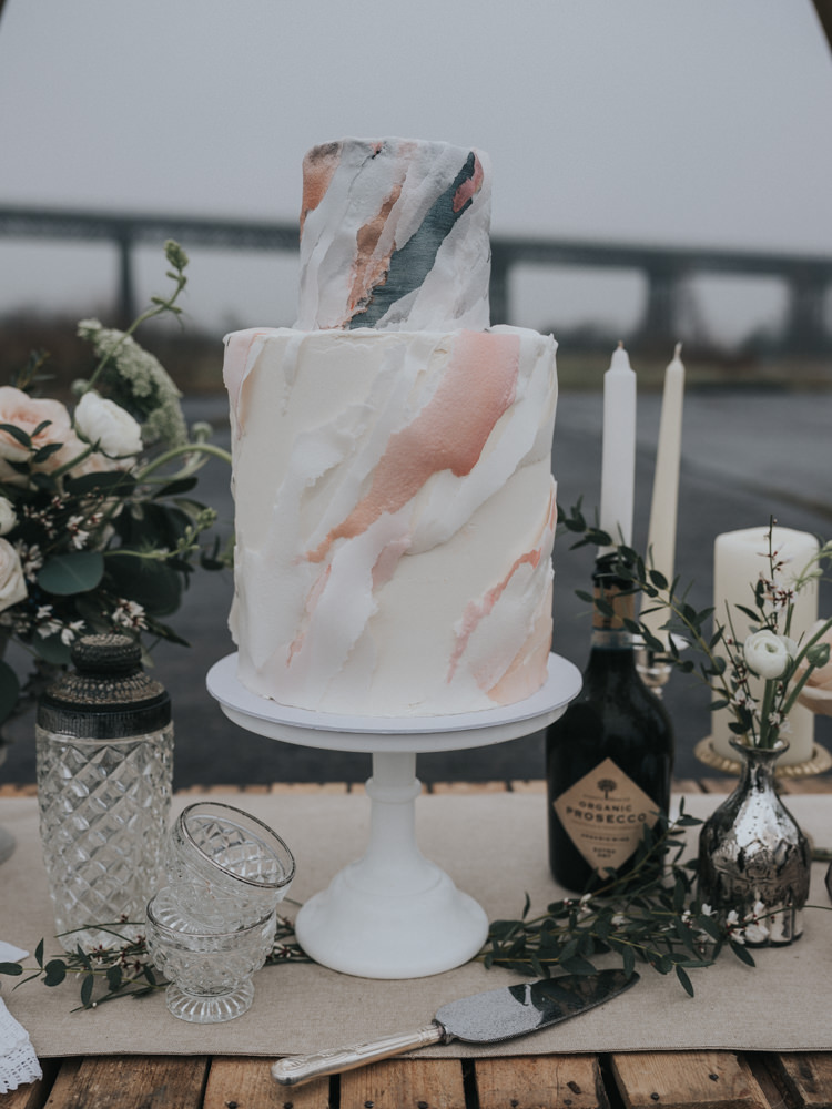 Paper Watercolour Layer Brushed Cake Pastel Metallic Alternative Edgy Naked Tipi Backdrop Wedding Ideas http://www.ivoryfayre.com/