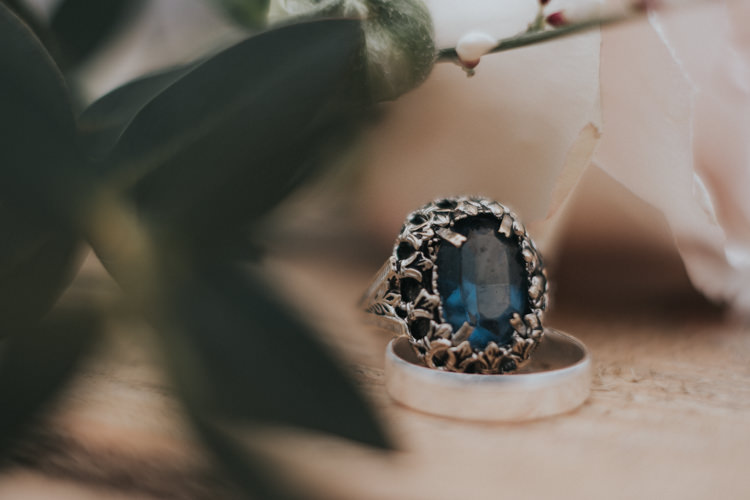 Blue Sapphire Vintage Engagement Ring Alternative Edgy Naked Tipi Backdrop Wedding Ideas http://www.ivoryfayre.com/