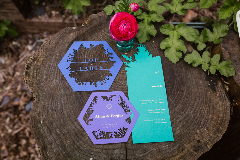 Laser Cut Bright Colourful Stationery Arnos Vale Weddings Ideas When Charlie Met Hannah Photography
