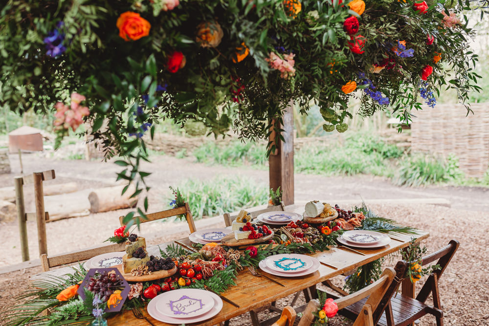 Outdoor Colourful Woodland Table Tablescape Decor Hanging Suspended Flowers Greenery Arnos Vale Weddings Ideas When Charlie Met Hannah Photography