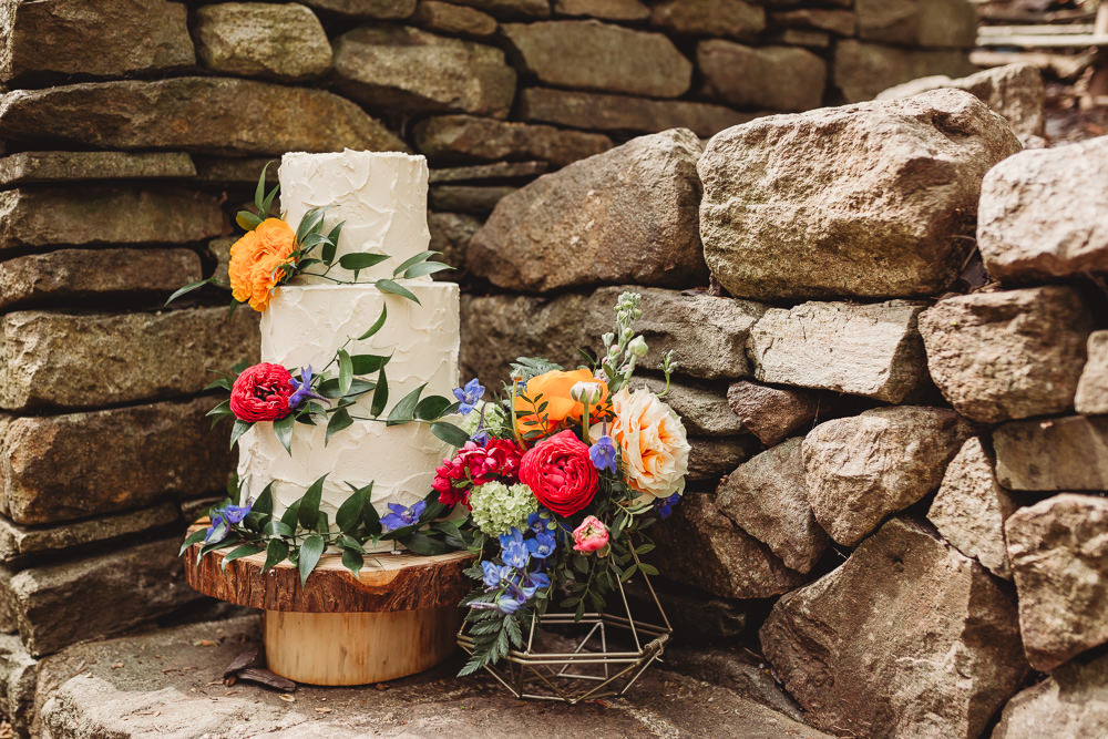Rustic Buttercream Cake Flowers Greenery Log Stand Arnos Vale Weddings Ideas When Charlie Met Hannah Photography