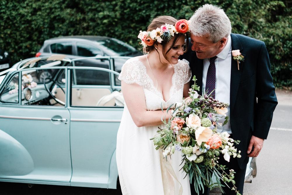 Bride Bridal Gown Dress Laure de Sazagan Lace Cap Sleeve V Neck Bouquet Flower Crown Cantley House Hotel Wedding Ross Hurley Photography