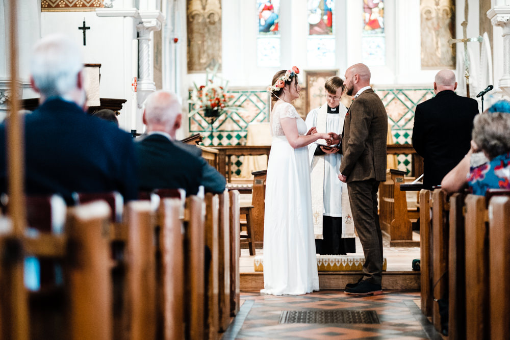 Bride Bridal Gown Dress Laure de Sazagan Lace Cap Sleeve V Neck Tweed Groom Cantley House Hotel Wedding Ross Hurley Photography